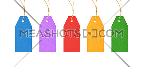 Set of colorful multicolor blank paper label tags hanging on twine strings isolated on white background