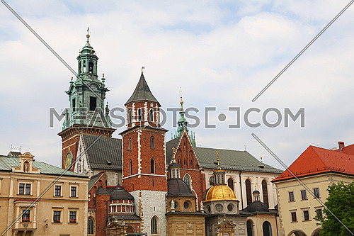 Front view of medieval Cathedral of Wawel Royal Castle, one of most popular tourist attractions and landmarks in Krakow, Poland