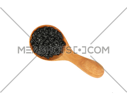 Close up one wooden scoop spoon full of black Hawaiian salt isolated on white background, elevated top view, directly above