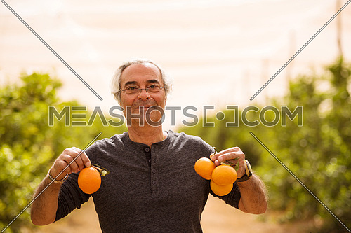 older middle eastern man with oranges in his hands on the farm of orange