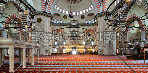 Istanbul, Turkey - April 19, 2017: Interior shot of Sulaymaniye Mosque, the second largest mosque in Istanbul