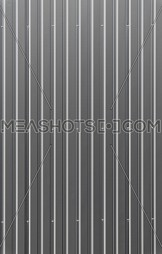 Unpainted aluminum grey corrugated goffered metal wall texture
