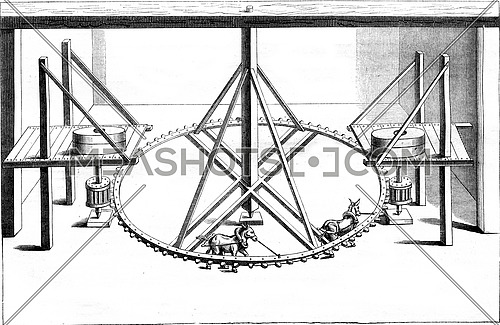 Interior of a mill two pair of wheels driven by animals, vintage engraved illustration. Magasin Pittoresque 1852.