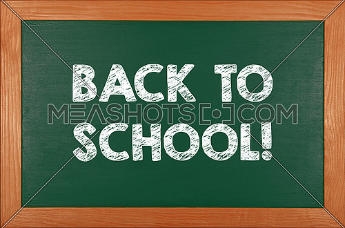 Back to school chalk handwritten sign over green chalkboard background with wooden frame and copy space