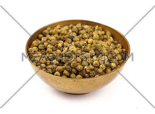 Close up one bronze metal bowl full of green pepper peppercorns isolated on white background, high angle view