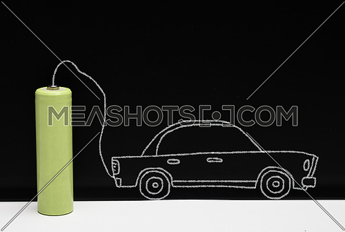 Concept of car and electrical battery drawn on a whiteboard, conceptual image