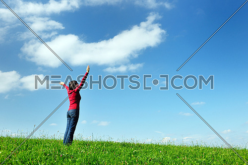 Young woman relax and have fun  in the field