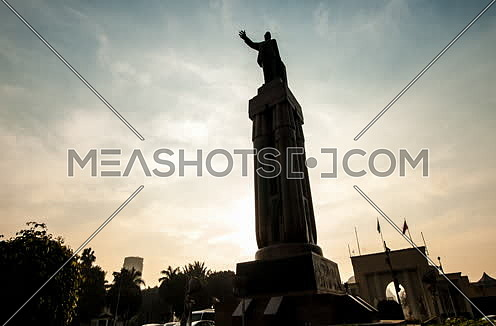Zoom Out Shot for Saad Zaghloul Statue at Cairo at Sunset