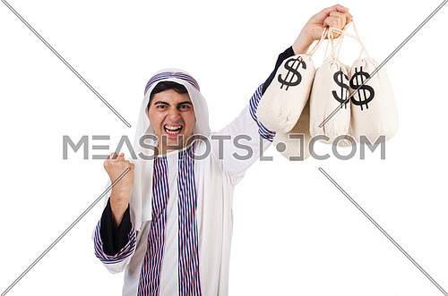 Angry arab man isolated on the white