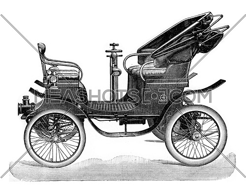 Cart with motor at the rear, vintage engraved illustration. Industrial encyclopedia E.-O. Lami - 1875.