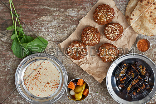 Falafel and egg plant traditional egyptian breakfast