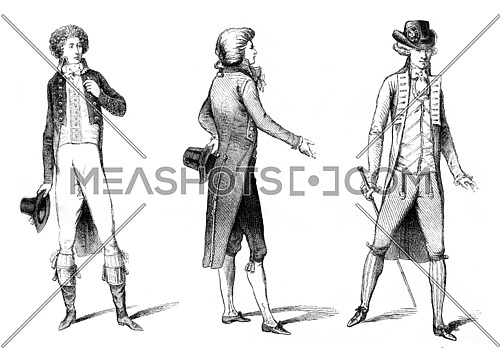 Costumes from the beginning of the Revolution, 1789-1790, vintage engraved illustration. Magasin Pittoresque 1869.