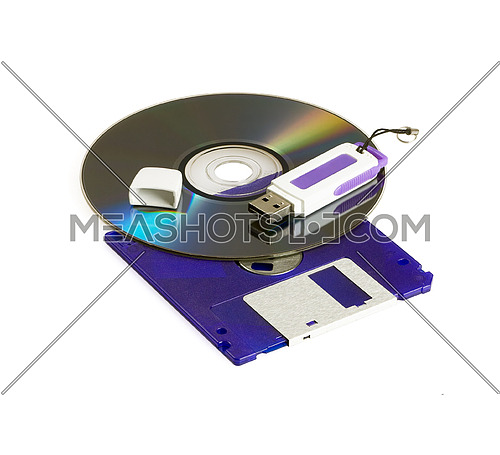 cd rom dvd,floppy disk ,and usb key isolated on white background