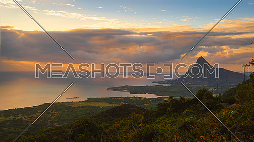View from Piton de la Petite Riviere Noire, highest peak of Mauritius. Panorama at sunset.