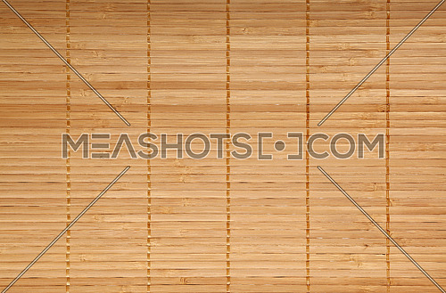 Beige brown natural wooden bamboo mat background texture with horizontal planks, close up