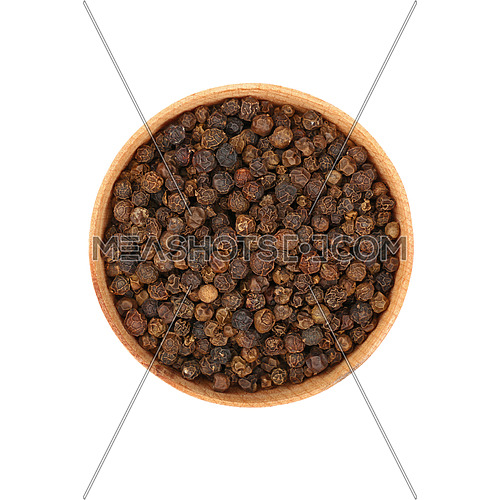Close up one wooden bowl full of black pepper peppercorns isolated on white background, elevated top view, directly above