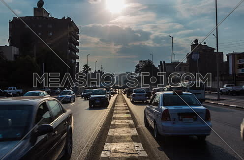 Zoom IN Shot for traffic at Salah Salim Street showing Al Orouba Tunnel in background at Daytime