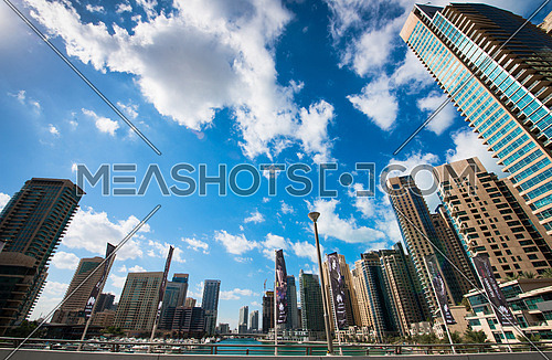 Dubai Marina Landscape - blue sky and clouds