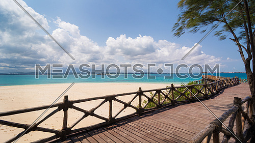 In the picture the beautiful wooden bridge leading to the beach on the island of slaves, Zanzibar Republic of Tanzania