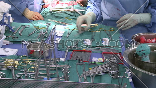 Close up for surgical tray with surgical instrumentals