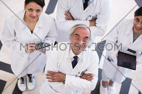 top view of middle eastern medical staff in meeting together in hospital
