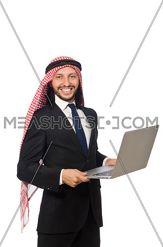 Arab businessman with computer on white