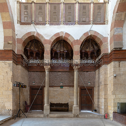 Side wall at the main hall of Beshtak Palace (Qasr Bashtak), a Mamluk era ancient historic palace, located in an area called Bayn al-Qasrayn (between the two palaces) in Muizz Street, Cairo, Egypt