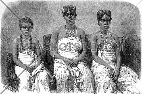 The daughters of King Louis, vintage engraved illustration. Le Tour du Monde, Travel Journal, (1865).