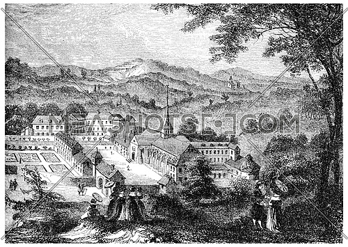 Port-Royal-des-Champs, after an engraving of the seventeenth century, vintage engraved illustration.