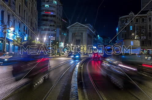 Track Left shot for Stock Market Bulding in Alexandria at night