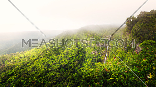 Wonderful panorama of waterfall Black River Gorges and jungle around it, Mauritius.