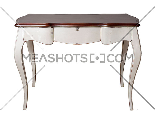 Vintage Furniture - Retro wooden desk table with white legs and three drawers isolated on white background including clipping path