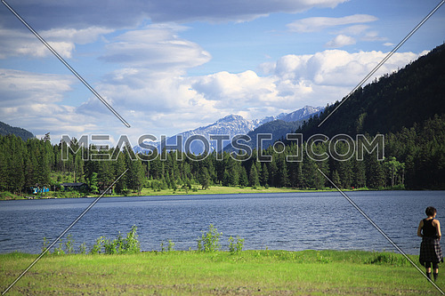 A Mountain landscape on a lake with blue sky and clouds