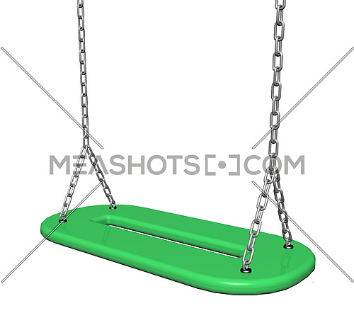 Green  plastic swing with chains, 3d illustration, isolated against a white background