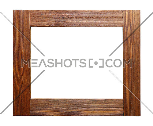 Rustic unpainted rectangle wooden picture, window or mirror frame of brushed natural wood isolated on white background, close up