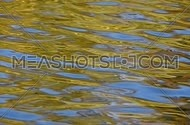 Colorful yellow and blue ripples and waves fast running on water surface, diagonal direction, moving flow background close up, Full HD 1080