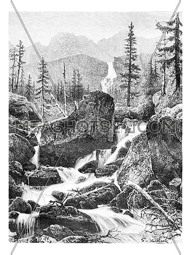 The Iron Gates of the Danube River in Banat, Romania, drawing by G. Vuillier from a photograph, vintage engraved illustration. Le Tour du Monde, Travel Journal, 1881