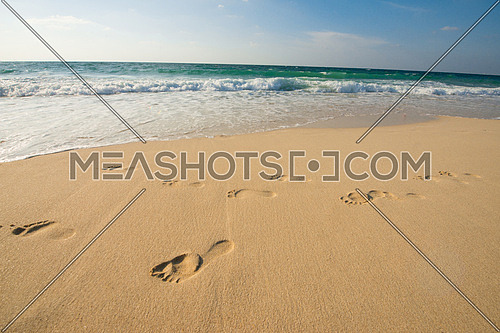 foot prints on the sand at the sea shore