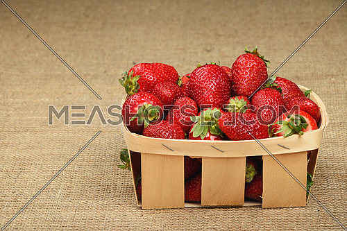 Wicker wooden basket full of mellow fresh red summer strawberries on jute burlap canvas background, side view