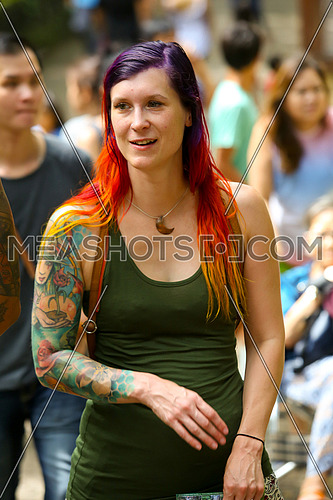 random portrait of an inked woman at Monkey Forest, Ubud, Bali, Indonesia summer July 9th 2016