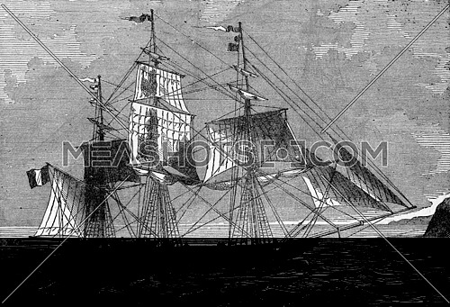 Barque down, vintage engraved illustration. Industrial encyclopedia E.-O. Lami - 1875.