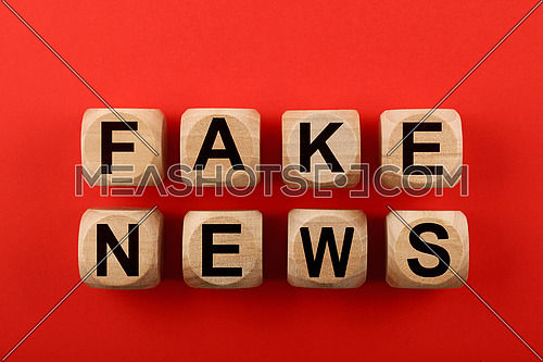 Close up wooden cube signs with FAKE NEWS words over red background with copy space, elevated top view, directly above