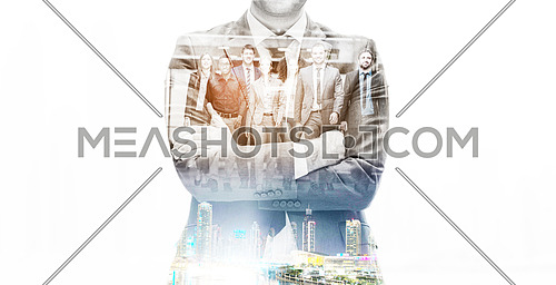 double exposure of young multi ethnic business people group walking standing and top view
