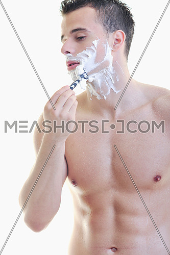 young handsome man have shaving isolated on white