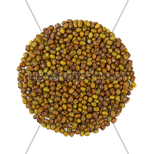 Round shaped green and brown dried Asian traditional mung (moong) gram beans isolated on white background, close up, elevated top view