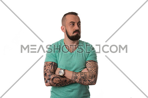 Portrait Of Young Man With Tattoo And Beard - Isolated On White Background