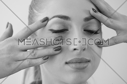 Beauty Spa Woman Portrait. Beautiful Girl Touching her Face. Perfect Fresh Skin. Pure Beauty Model Girl. Youth and Skin Care Concept. Pampering Skin. Health Care