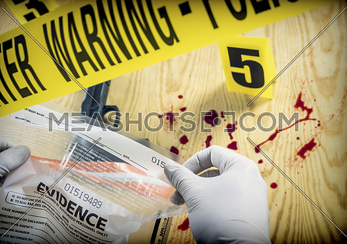 Crime scene for cutting weapon, Police Scientific manipulating bag of evidence, conceptual image, conceptual image