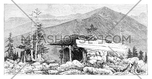 Shepherd's Hut in the Tatra Mountains, Poland, drawing by G. Vuillier from a photograph, vintage engraved illustration. Le Tour du Monde, Travel Journal, 1881
