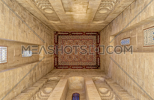 Ceiling of the tomb of the Reza Shah of Iran in Al Rifaii Mosque (Royal Mosque), located in front the Cairo Citadel, constructed between 1869 and 1912, Cairo, Egypt